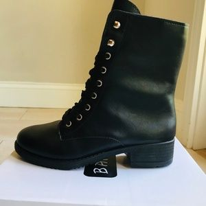 New Black Lace Up Combat Boot